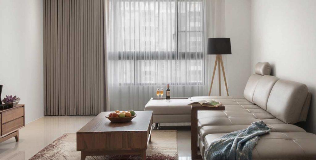 只有壁紙、窗簾、油漆等工項,才是無須申請室內裝修許可的範圍。采晴窗簾提供。
